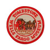 "Souvenir Patch Red Rim ""Wells Fargo Museum Tombstone"" Arizona Iron-On Applique"