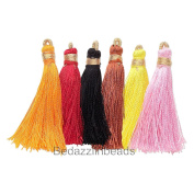 Lot of 12 Miniature 4.4cm - 5.1cm Imitation Silk Tassel Charms in Mixed Colours