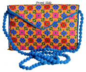 Indian Women Purse Jewellery Pouch Floral Work Clucth Purse Party Shoulder Bag