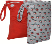 2 Extra Large Single Zipper Waterproof Wet/Dry Bags 32cm W X 46cm H. Fits up to 9 Cloth Nappies. For Daycare, Swimwear, Travel Etc.