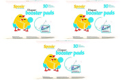 Sposie Booster Pads Nappy Doubler 90 Count 3 Packs of 30 Pads