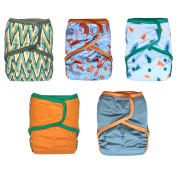 EcoAble Baby Cloth Nappy Cover AI2, Hook & Loop, 5-pack + 10 inserts