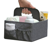 BEST NURSERY CADDY FOLDABLE nappy CHANGING organiser Travel Portable Nappy Nappy Bags Storage Caddy. Huge Space for Bottles, Toys & Wipes. grey. It's Perfect Baby Shower Gift!