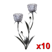 Lot Of 10 Smoke Mist Faceted Glass Candle Cup With Stems And Buds Wall Sconces