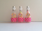 12 Minnie Mouse Fillable Champagne Bottles Baby Shower Favour Its a girl Birthday