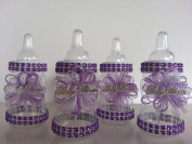 12 Purple Fillable Bottles for Baby Shower Favours Prizes or Game Girl Decoration