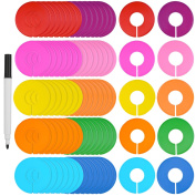 Blulu 80 Pieces Coloured Blank Closet Size Dividers Round Clothing Rack Dividers with Marker Pen, 10 Colours