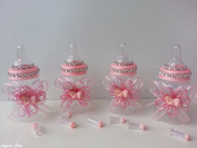 12 Pink Fillable Bottles with Plastic Baby Shower Favours Prizes Girl Decorations