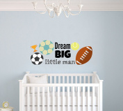 Custom Name Football Tennis and Soccer Balls Champion Trophy -Sports Theme- Baby Boy - Wall Decal Nursery For Home Bedroom Children