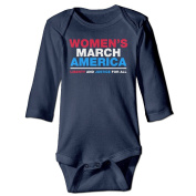 Womens March America Baby Girls' And Boys' Long Sleeve Bodysuits Romper