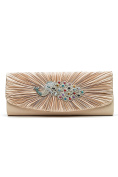 Women Envelope Clutch Bag Peacock Crystal Purse Glitter Handbag With Chain Strap