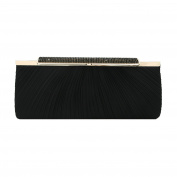 Premium Crystal Top Pleated Satin Hard Frame Clutch Evening Bag