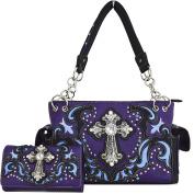Western Cowgirl Concealed Carry Country Cross Purse Handbag Messenger Shoulder Bag Wallet Set Purple