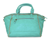 Green Faux Leather With Gold Trim Studded Buckle Shoulder Bag Purses