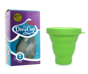 Diva Cup Model 2 Post-Childbirth Menstrual Cup plus Dandelion Cup Sanitation Container - Green