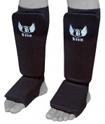 BOOM Prime Elasticated Shin Instep Leg Foot Guards Pads MMA Muay Thai Kick Boxing