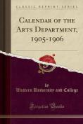 Calendar of the Arts Department, 1905-1906