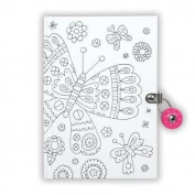 Butterfly Color-In Locked Diary