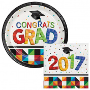 Confetti Fun Graduation 2017 Lunch Plates & Napkins Party Kit for 8