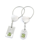 Genuine Four-leaf Lucky Clover Crystal Amber Engravable Key Chain, Valentine's Love You Tags !