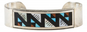 Zuni Native American Turquoise Coral and Shell Inlay Bracelet by Othole