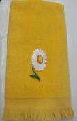 Daisy Bath Fingertip Towel Yellow Vintage Applique Pansy Mom Aunt Grandma
