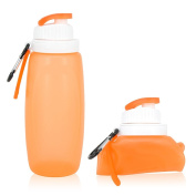 Water Bottle, Chialstar Collapsible Silicone Sports Water Bottle BPA Free, Eco-friendly 0.32L, 300ml Made for Running, Gym, Yoga, Outdoors and Camping