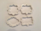 4 PC Set - Plastic Frame Pattern Shape Cookie Cutters - Custom Cookie and Fondant Cutters from Bakell