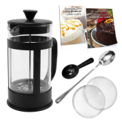 French Press Coffee Maker Bundle ~ 1010ml (8 cup), Stainless Steel Double Screen and Plunger, Borosilicate Glass, Thick Durable Handle and Body