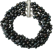 Stunning Cultured Freshwater Black/Peacock Baroque Pearl six strand chunky Bracelet with silver clasp, presented in a pretty satin silk pouch with a gift card