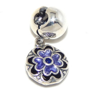 """Solid 925 Sterling Silver """"Dangling Two Sided Purple and Black Flower with Blue Centre CZ"""" Clip Lock Charm Bead"""