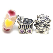"""Solid 925 Sterling Silver """"Three Piece Newborn Girl Collection"""" Charm Bead"""