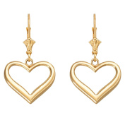 Open Heart Love Leverback Earrings in Polished 14k Gold