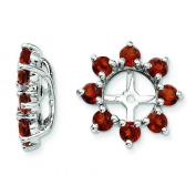 Deep Red Women's Garnet Flower Earring Jackets in Stunning Sterling Silver