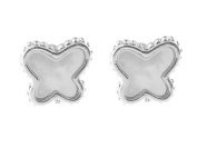 Sterling Silver Rhodium Plated Natural Mother of Pearl Butterfly Stud Earrings