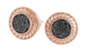 Round Cut Natural Black Diamond Stud Earrings in 14k Gold Over Sterling Silver