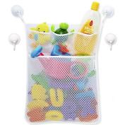 Bath Toy Organiser - Baby Toy Storage Mesh Bag + 4 Strong Suction Cups,Bath Tub Toy Storage Mesh Bag Tidy Suction Net.