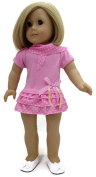 46cm Doll Clothes Fits American Girl Doll Pink with Polka Dots Ruffled Dress