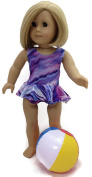 46cm Doll Clothes Fits American Girl Doll Colourful Purple Tie-Dye 1 piece Ruffled Swimsuit & Beachball
