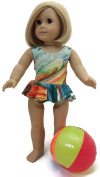46cm Doll Clothes Fits American Girl Doll Colourful Green Tie-Dye 1 piece Ruffled Swimsuit & Beachball