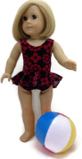 46cm Doll Clothes Fits American Girl Doll Colourful Black & Red 1 piece Ruffled Swimsuit & Beach Ball