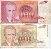 Scarce Nikola Tesla Pair 1,000 & 5,000 Dinara One and Five Thousand Dinar Obsolete Notes