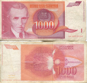 Scarce Nikola Tesla 1,000 Dinara One Thousand Dinar Obsolete Note
