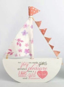The Home Fusion Company Pink Baby Girls Christening Gift Handcrafted Boat With Cute Poem