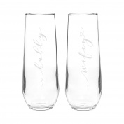 Cathy's Concepts Hubby & Wifey Stemless Champagne Flutes, clear