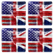 MSD Natural Rubber Square Coasters IMAGE 21917732 USA and UK Flag painted on grunge wall