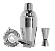 Silver One 3 Piece Stainless Steel Bar & Home Cocktail Shaker Set with Gift Box