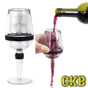 CKB Ltd Novelty Wine Aerator In The Shape Of A Wine Glass - Easy To Clean - Unique Double Walled Acrylic Design That Includes A Stem Base Stand That Acts As A Handy Drip Catcher