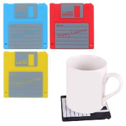 CKB Ltd Pack Of 4 Mixed Colour Funky Floppy Disc Drink Coasters - Heat Resistant For Tea & Coffee Mugs Retro 80'S Classic 8.9cm Diskette Blue Red Black And Grey