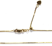 """14kt 14K Yellow Solid Gold 1mm Box Necklace Chain Lobster Adjustable up to 22"""""""